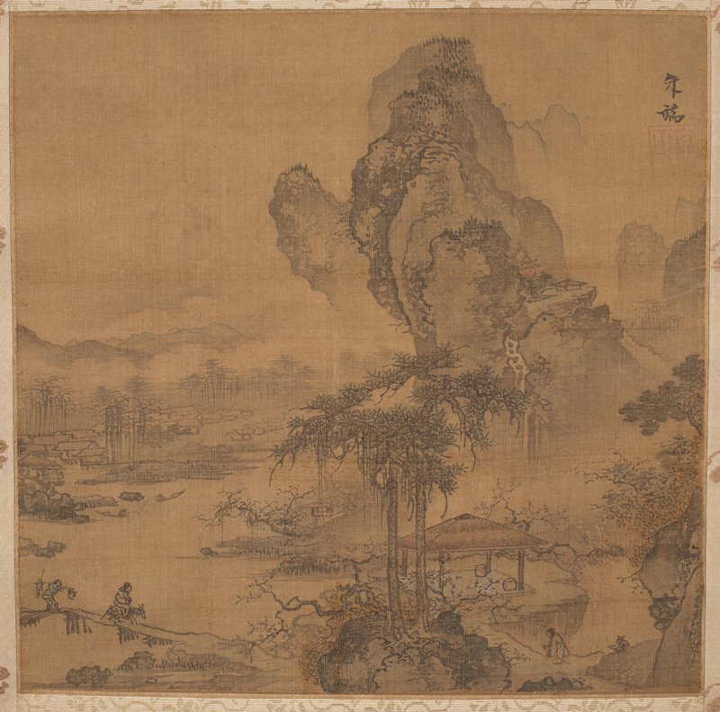 two figures on small bridge at LL walking towards open pavilion within a small grove of trees; robed figure on trail at lower center approaches pavilion; towering, bulbous rock formation in background at R; waterway and richly foliated landscape