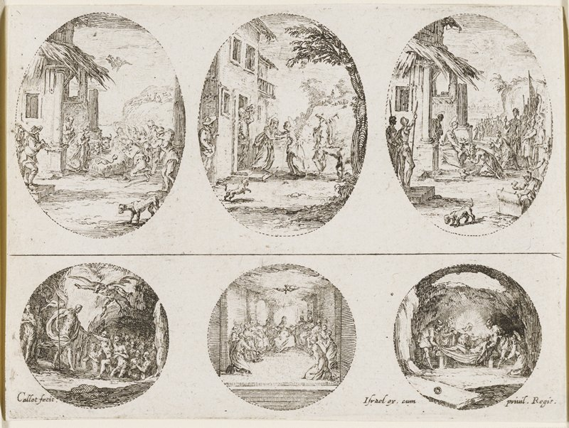 grouping of three ovals with three circles below, each showing a different biblical scene