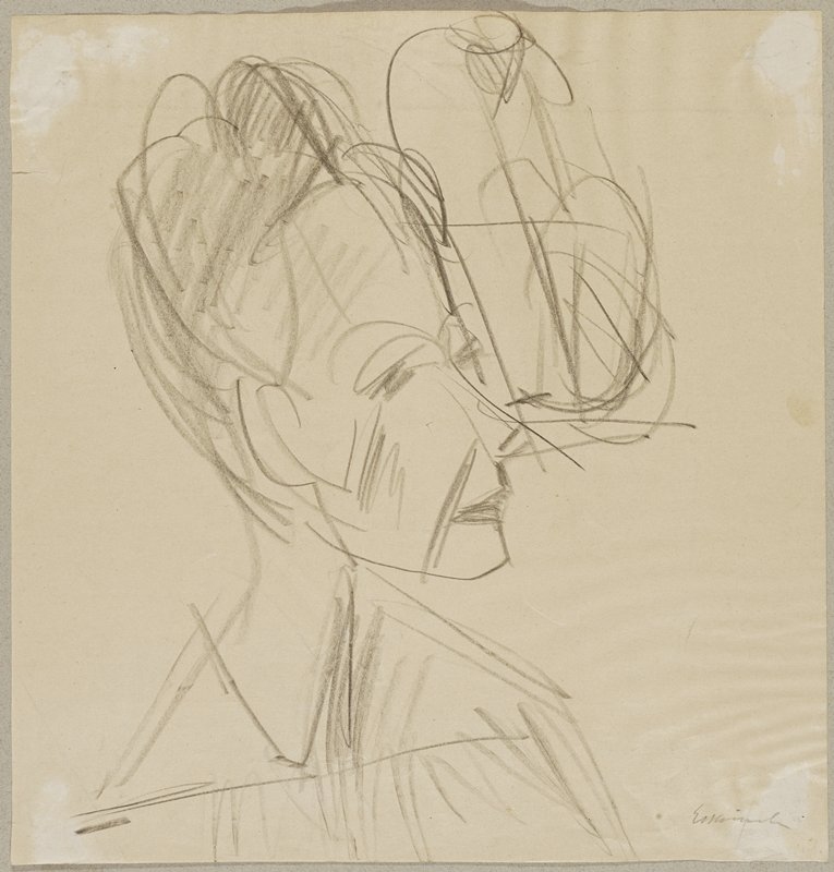 loose geometric drawing of a woman's head and shoulders, facing to the right of the picture plane