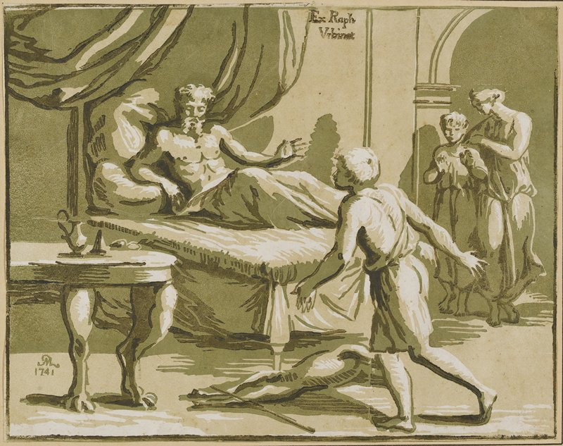 man reclining on a bed with a youth facing him in the foreground; woman and youth to the R under an arch