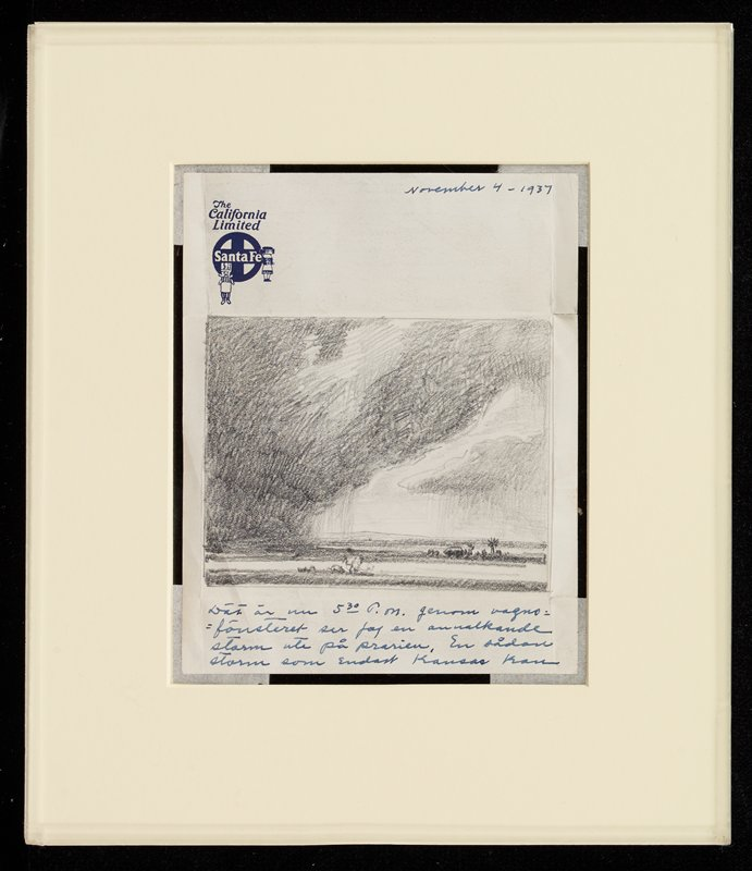 """sheet of stationery with logo of The California Limited Santa Fe logo in blue ink in ULC, with blue cross in a circle and two kachina dolls; rectangular pencil drawing of rural landscape with tiny farm with windmill at right; very low horizon line; rain and dark clouds; letter dated November 4, 1937, in URC; text of letter in Swedish, in blue ink; signed """"Carl"""" at LRC on back; received matted and sandwiched between two pieces of Plexiglas (taped closed with Scotch tape)"""