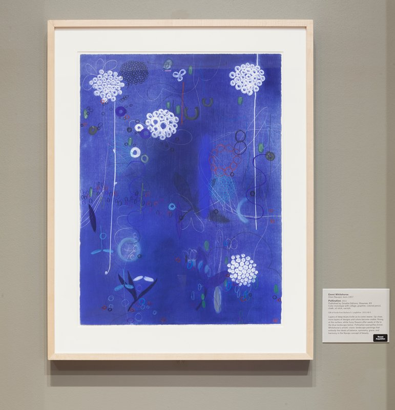 abstract image; blue/black ground with white and blue flower petal outlines; clusters of white and blue circles (like hydrangea blossoms); blue leaves; other circular shapes in blues, purple, red and greens