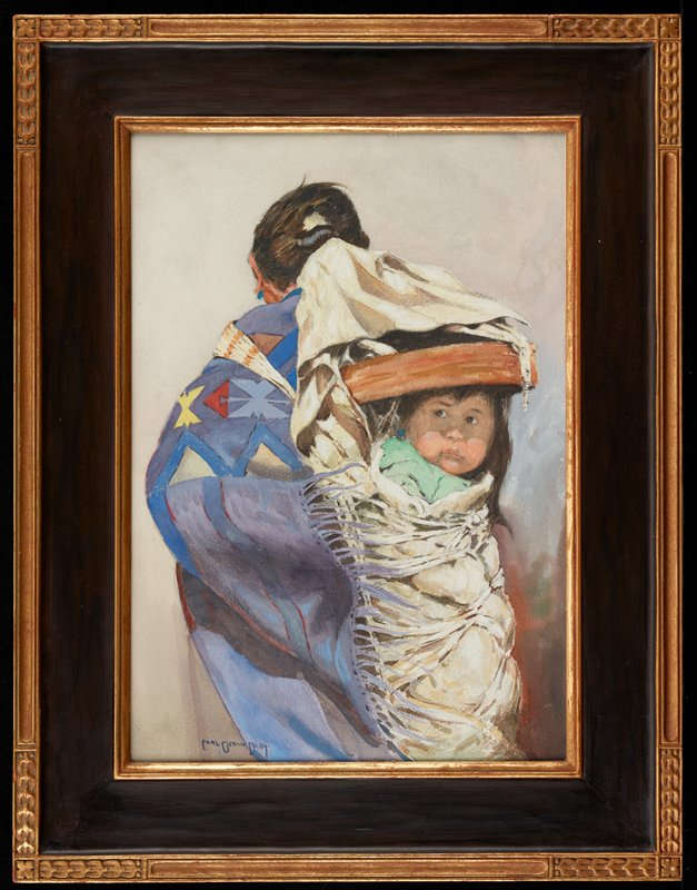head and torso of woman seen from back with a papoose strapped to her back; green cloth visible beneath baby's chin; woman wears a predominately purple blanket with white, light blue, yellow and red geometric patterns