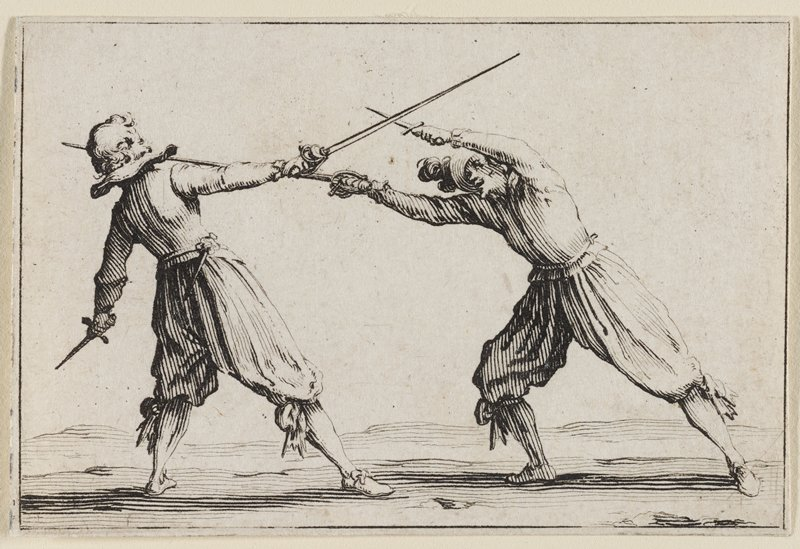 two men fighting with an epée (or fencing sword) and a dagger in each hand; man at L leans away from the epée near his neck at PL side; man at R is leaning forward, deflecting the sword with his dagger in PL hand