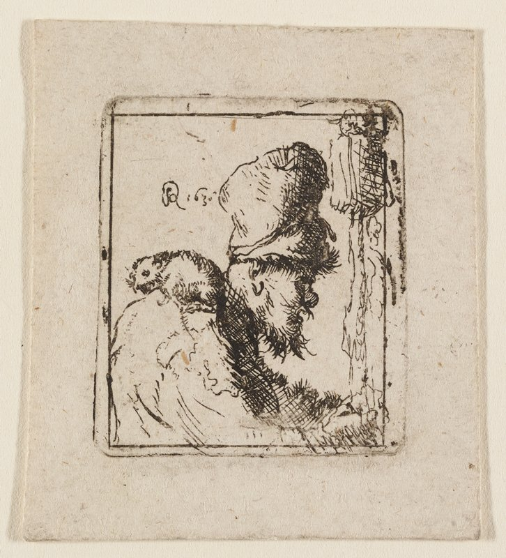 profile of male figure facing R with high hat and rough beard; rat perched on his PR shoulder