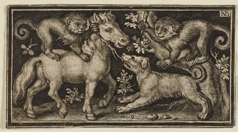 pony at L with monkey on its back, holding a branch that a dog is pulling on; another monkey on a bent tree trunk at R holding a club above dog's head; bee in ULQ, small shrubs on ground