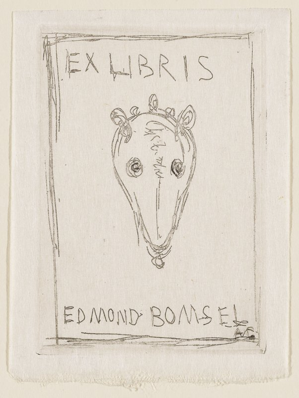 front view of stylized, skull-like animal head with large, empty eyes; Ex Libris Edmond Bomsel across top and bottom