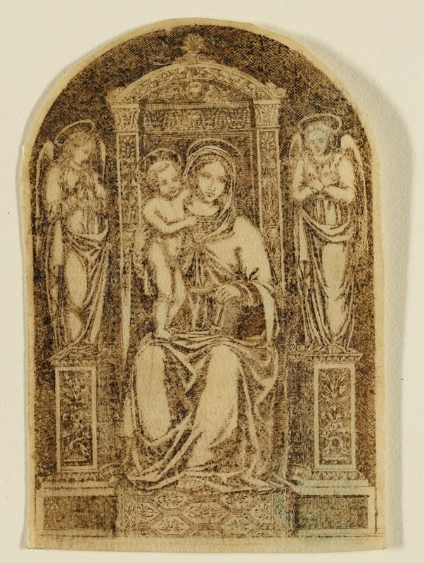 Mary on a throne holding baby Jesus who is standing on her PR leg; angel on either side of throne; Mary's PL hand rests on a book on knee; printed on sheet that is rounded at the top