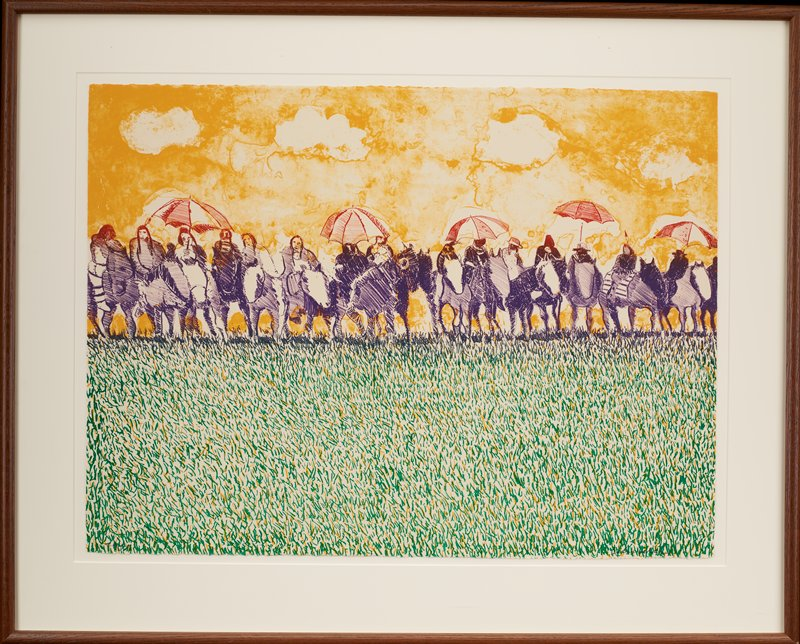 row of figures on horses in purple--five figures hold red and white umbrellas; green grass in foreground with elements of yellow; mottled yellow-orange sky