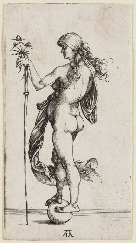 rear 3/4 view of female figure standing on a ball; small scarf blowing from her back down towards her knee; figure leans on a staff, holds a thistle-like plant in PR hand