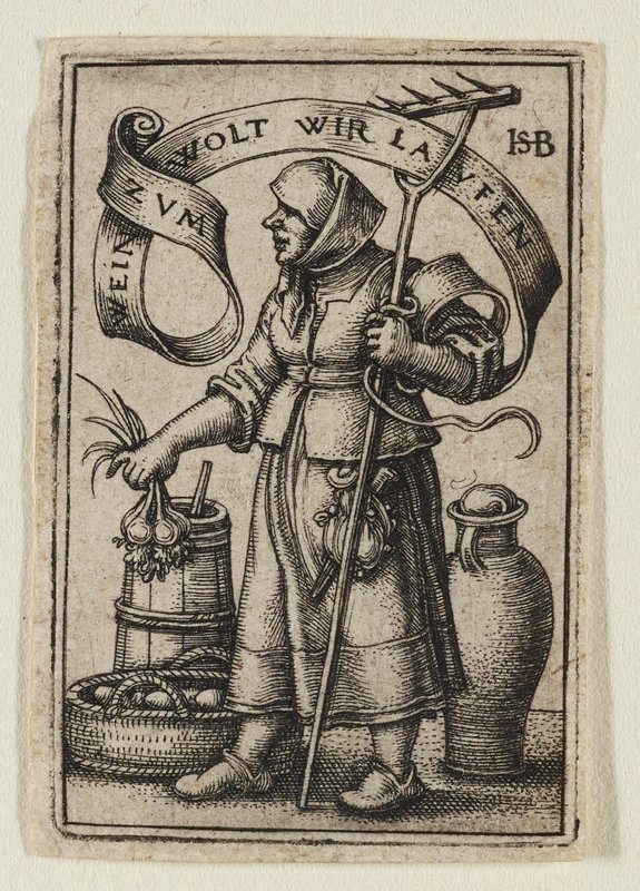 woman in 3/4 pose in heavy dress and bonnet looking to L, holding a rake in PL hand; a basket of root vegetables on ground at PR; butter churn, large jar, and fruit basket in background; banderole over the top weaving through rake with German inscription