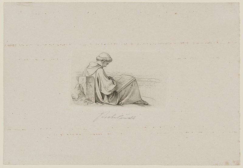 male figure in hooded garment, seated in 3/4 profile against a stone at L, head bent over a large book resting on his knees