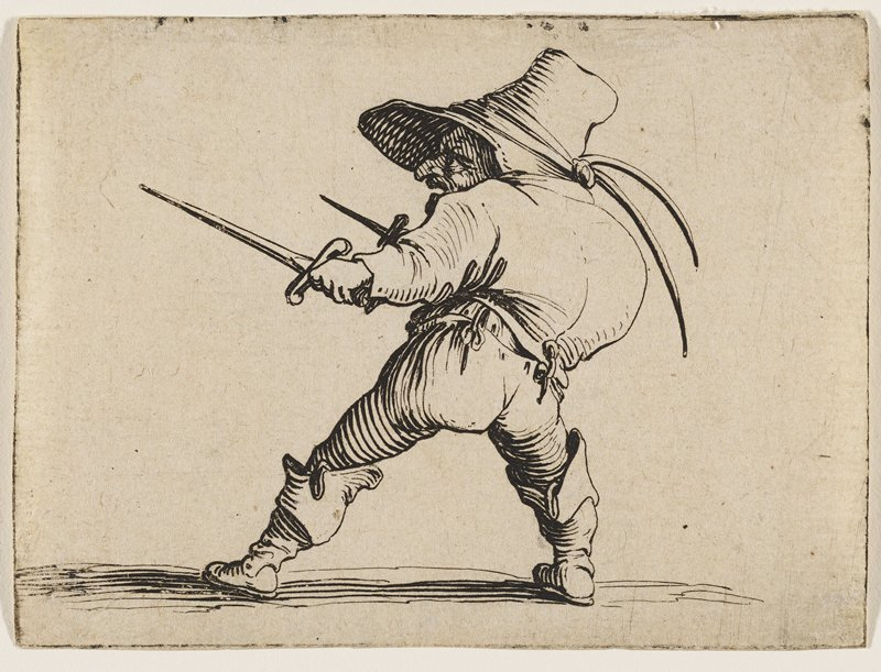 scowling hunchback figure with hooked nose, and large brimmed hat facing L; posed with pointy, short epee in each hand