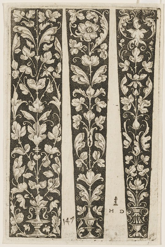 three vertical ornamental studies, one rectangular, and two more triangular; sinuous vines with thick leaves emerge vertically from ornate ewers at the bottom, each with a slightly different variation