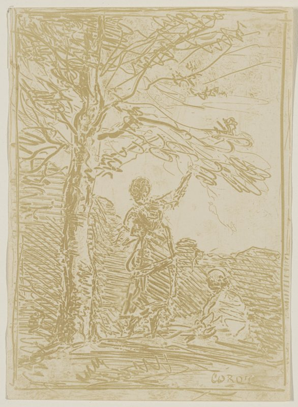 tree at L; woman at center with back to viewer, reaching toward a lower branch with the PR hand; seated figure at R
