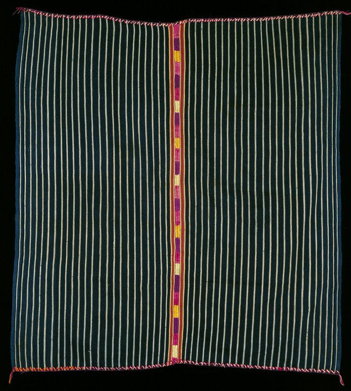 blue/white warp-faced cotton stripe with silk embroidered band vertically through center (purple, yellow, pink)