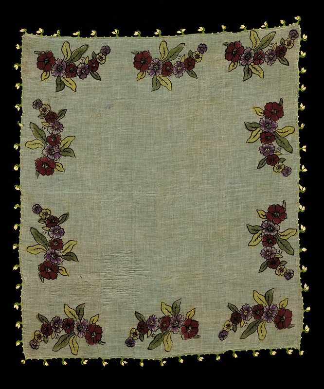 Gauzy, thin fabric; green ground with 10 black printed floral sprays around edges; trimmed with green tatted border and green and white tatted flowers