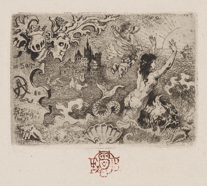 castle L of C in background, with two men on white horses nearby; wavelike motif in foreground at bottom with a mermaid emerging at R; two cherubs wrestle near sun and ships at URC; flame like motif with armor helmets at ULC with griffin