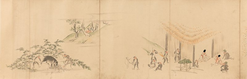 colorful images depicting a story of an elderly couple discovering and raising an abandoned baby who grows into a beautiful woman; scenes with monkeys surrounding a basket in a tree; dogs emerging from baskets and attacking monkeys, ending with a monkey in a stable