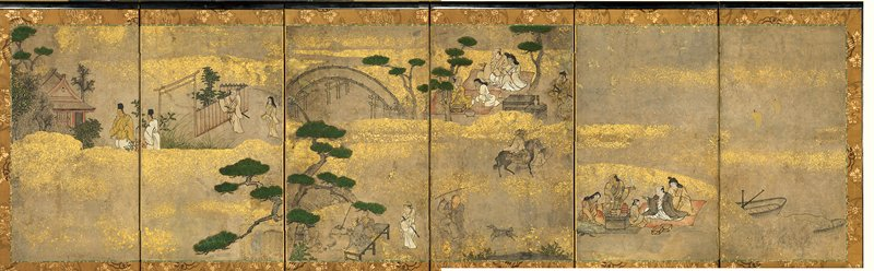 small six-panel screen; group of people picnicking on red blanket along a shore at R; another group of picnickers near UC between trees, with horseback rider nearby; arched bridge with tree nearby at L; another group of people on bench at L; man entering shine complex at L