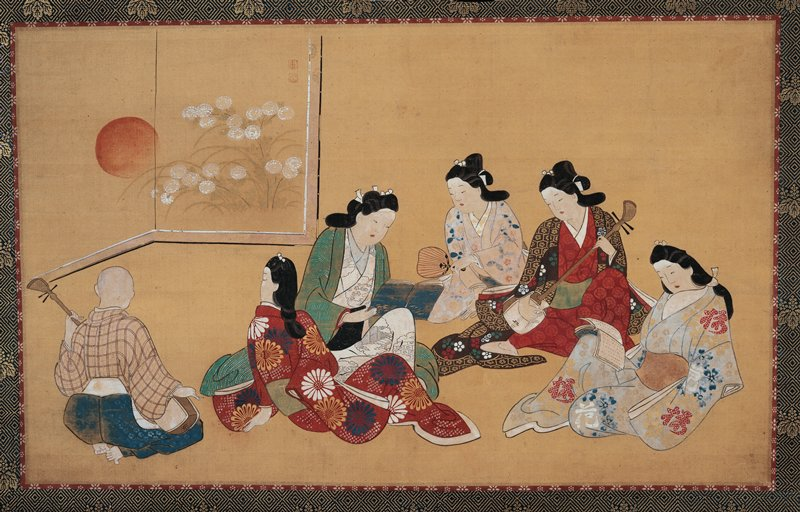 five women lounging with instruments, books, fans; bald man at L with back to viewer playing stringed instrument; decorative screen ULQ; women in bright kimonos