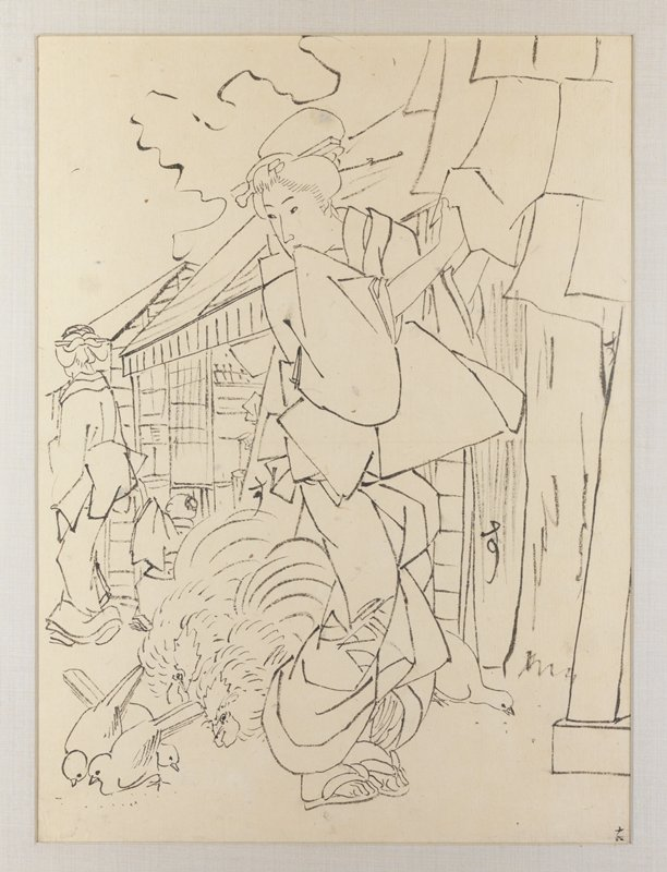 preparatory drawing for print of a woman standing in 3/4 profile adjusting hanging cloths at UR; looking down over PR shoulder at chickens and doves pecking at ground behind her feet; crude buildings along a street behind her; another woman walking away at L