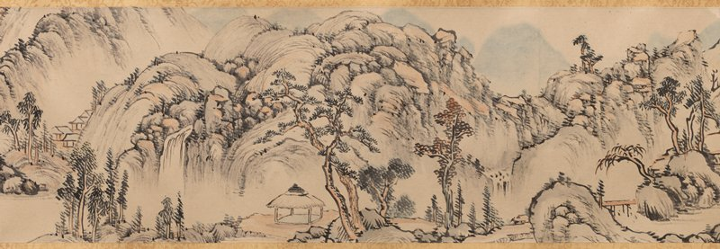 inscription with large characters in front panel; lightly colored landscape featuring bulbous, rocky mountains; calm bays; small buildings, a pagoda; trees; a few waterfalls, and a bridge