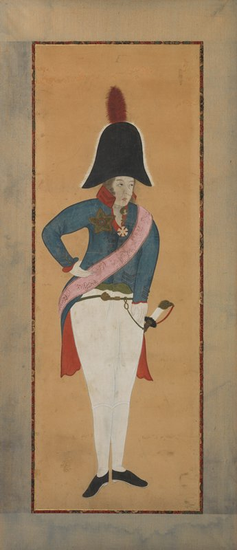 unsigned; front view of man in General's uniform, standing with legs close together, PR hand on waist, looking toward R; white pants, short blue jacket with red lining in tails; pink sash, two star decorations, and red-plumed black hat