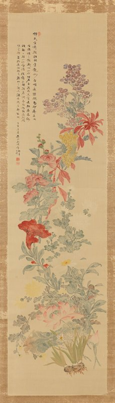 painting of a spray of colorful flowers including narcissus with exposed bulbs, pink lotuses; yellow chrysanthemums; trumped-shaped red velvet flower; white chrysanthemums; pink hollyhocks; large yellow mum, and purple flowers