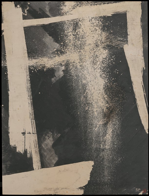 large abstract painting; black background with two vertical and one horizontal bar forms that form partial frame within black background; shorter horizontal white bar near LLC; large area of white splatter marks near C and UC