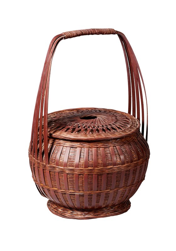 round basket with squared handle made of five slats; closed horizontal weave with overlapping vertical bamboo strips; two bands of horizontal weave around body; small, flared foot; round cover with elevated cross weave on top with small circular opening at center