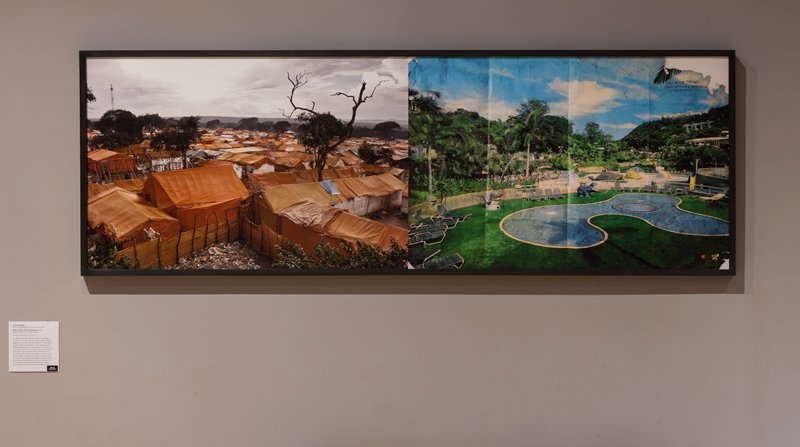 "two images printed in color on one sheet; left image: tent village with red-orange tents; tall dead tree, URQ; grey sky; right image: old reproduced image of swimming pool surrounded with tropical landscaping with palm trees; many lounge chairs and umbrellas; concrete animals--snail, turtle, seal; old image with vertical lines/creases in original image and dark inherent smudges on original image; losses to original image in URC and LRC; text written in black on original image, URC, in French: ""MOI ET MA MAISON / (FAMILLE) NOUS SERVIRON / L'ETERNELLE]"