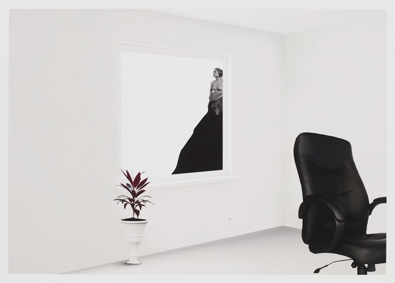 black leather office chair at right; reddish plant in white pot, LLQ; bare-breasted woman holding a grey cloth that covers her hands, with a black form beneath her, seen through a window at center
