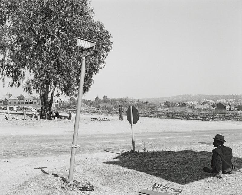 black and white photograph of a man in a suit wearing a hat, sitting on the ground in the shade in the lower right corner; a street sign, stop sign and tree at left
