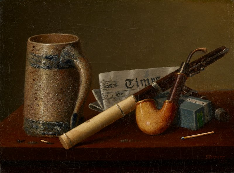 "still life with cream and blue tankard at left, folded ""Times"" newspaper dated 1877 at center, ivory and wood flute with bottom joint removed, pipe leaning on a blue box at right and several burned matchsticks; several areas of highly-raised impasto: matchsticks in LRC and LLC, highlights on pipe and tankard"