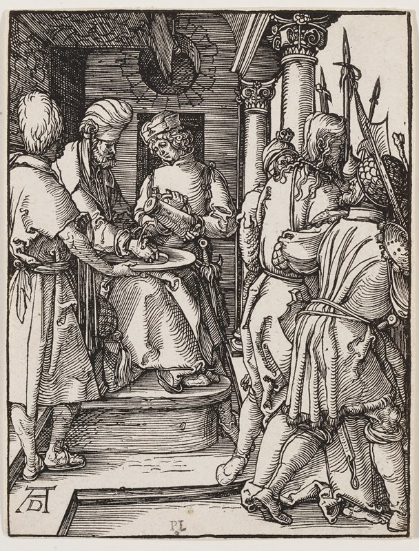 seated man wearing a turban at left, with two standing attendants, one of whom holds a basin and the other pours a vessel of water over his hands; soldiers with spears, holding Christ by the arms, at right, seen from back