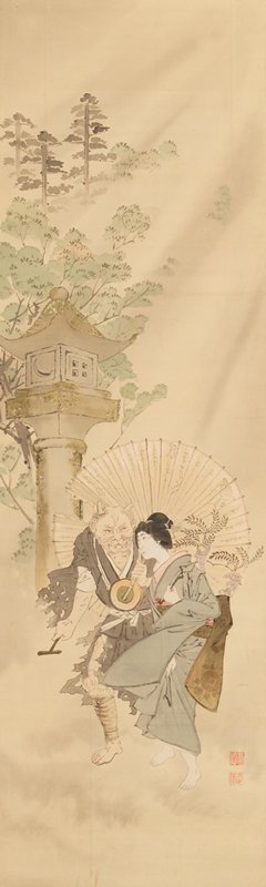 a demon carrying a tattered parasol and a woman carrying wisteria walk together; behind them stands a moss-covered lantern with a crescent-moon design; there are trees in the distance