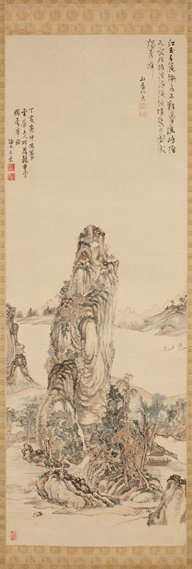 walled, mountain community surrounded by a body of water upon which two, small boats sail; dwellings pepper the mountainside and the composition is primarily pink, brown, black, and cream