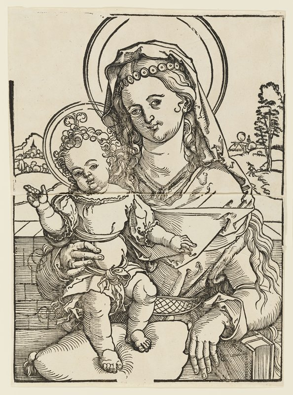 the Virgin Mary, seated, holds the standing Christ child on her lap, with her right hand steadying the child and her left hand draped over a book; the child's feet are perched on a pillow and he offers the blessing sign with his right hand--pointer and middle finger extended and thumb pointing upward; the background offers a country landscape with sparse structures and a lone figure