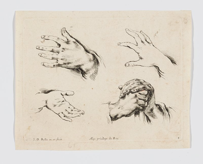 two studies of left hands; one right hand; pair of clasped hands