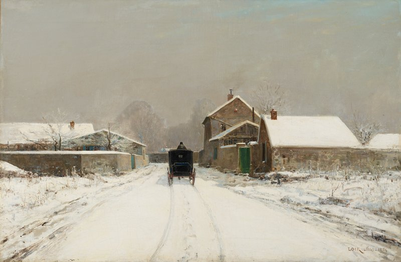 winter day with grey sky; view of the back of a black coach, with coachman's head and upper body visible, driving down a snow-covered street with wheel and horse's tracks in the snow; buildings at left and right side of street