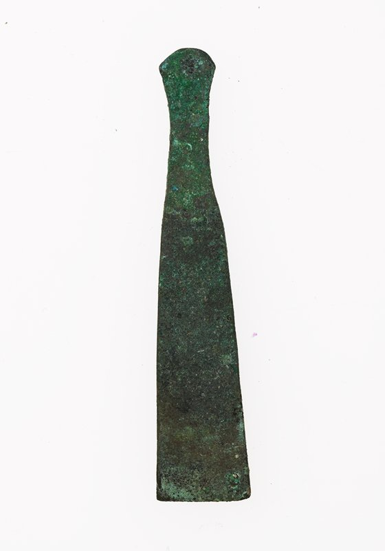 Spatula or Chisel, bronze, Egyptian, Ptolemic century? cat. card dims L. 3', W. 5/8'