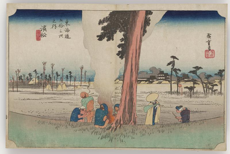 small collection of people gathered around a bonfire at the base of a tree; two others approach from R; smoke billows upward in a wide plume, embossed; boggy area with scattered trees and grain bales in background