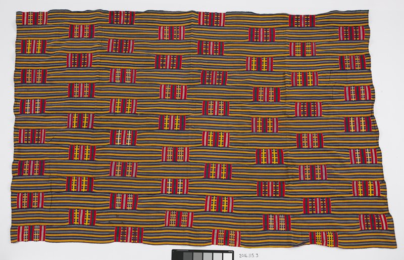 "yellow, blue and red striped panel with approximately 3"" x 5"" woven cotton rectangle patches with red, green, purple and gray stripes; two end are hemmed forming a seam"
