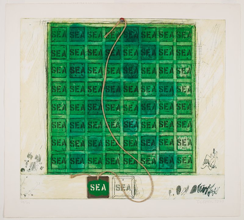 """green ground with eight by eight grid of squares in dark green, each with the word """"SEA"""" in stenciled dark green letters; piece of twine attached at top center with a silver metal button-like clip and attached at bottom left with square of metal with green pigments surrounding punched-out stencil letters spelling """"SEA""""; linearly-drawn copy of metal square to right; notes and marks in print in lower corners in dark green"""