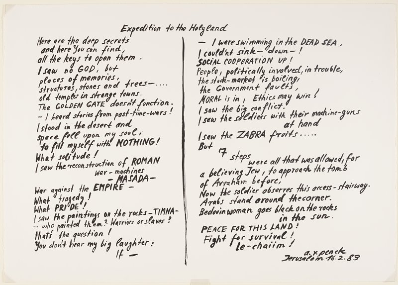 """hand-written text in black in two columns with a vertical line between them, titled """"Expedition to the Holyland"""""""