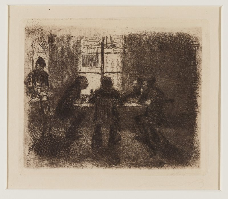 shadowy interior with four figures seated around a table with a window beyond; another window in ULC with a standing figure in front of it