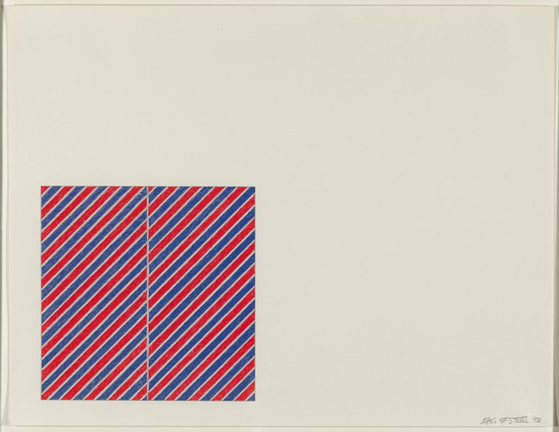 square in LLC of sheet broken into two rectangles side by side, each with alternating blue and red diagonal stripes