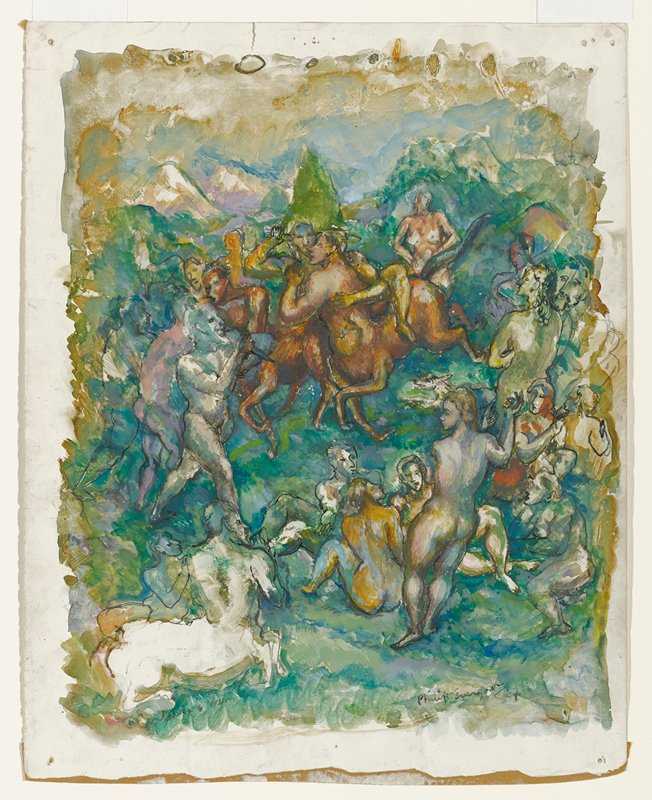 colorful Bacchanal scene with blotchy pigment; two Centaurs wrestling UC, one is holding a sword; three male figures at L, one holding a dagger; group of nude male and female figures, standing and seated, down R side and into LRQ; two Centaurs, one holding a flute, at LL