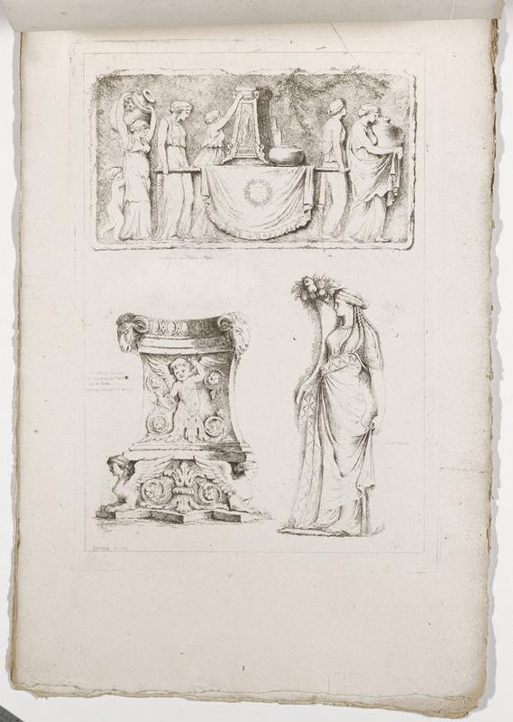 three images (clockwise from top): frieze with procession of women, with girl and nude child at left, carrying a column and a rounded vessel on a litter, standing woman with braids and a spray of fruit above her head, ornament with winged putto, pair of goat heads, and pair of sphynxes; 2016.106.4.7-12 received bound together (stitched at top with string)